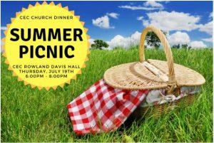CEC Church Dinner - Summer Picnic @ Christ Episcopal Church - Rowland Davis Hall
